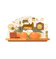 old watch repairer at workplace vector image vector image