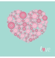 Pink heart made from buttons Love card Flat design