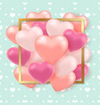 pink hearts on a green background vector image vector image