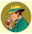 Retro man drinking coffee vector image vector image