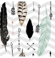 Seamless pattern with feather and arrows Chevron vector image vector image