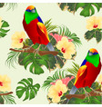 seamless texture tropical bird on a branch with vector image vector image