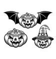set halloween pumpkins vintage objects vector image vector image