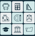 set of 9 education icons includes education tools vector image vector image
