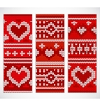 Set of seamless knitted banners with hearts vector image vector image