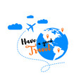 traveling world by airplane flat concept vector image vector image