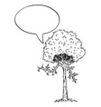tree plant cartoon character with speech bubble vector image
