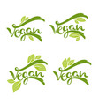 vegan lettering composition for logo template vector image
