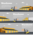 warehouse flyer set with forklift truck vector image vector image