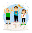 young children winner podium vector image vector image