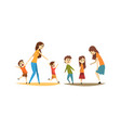 young mothers with naughty little kids set mom vector image vector image