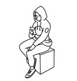 young woman in hoodie sitting on box looking at vector image vector image
