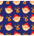 Seamless pattern with elves and deer on blue vector image