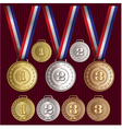 set of patterns medals of gold silver bronze vector image