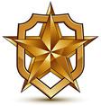 3d heraldic template with pentagonal golden star vector image vector image