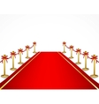 A red carpet and velvet rope vector image