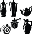 antique pottery for tea coffee brandy vector image vector image