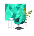 armchair desk and potted plant isolated on white vector image vector image