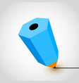 blue pencil icon on white background vector image vector image