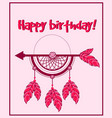 bohemian greeting postcard with happy birthday vector image
