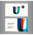 Business card template letter U vector image vector image