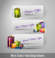 Business winter stickers with gifts design vector image vector image