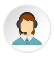 call center operator with phone headset icon vector image vector image
