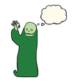 cartoon waving halloween ghoul with thought bubble vector image vector image
