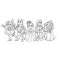 children in carnival costumes fairy prince vector image vector image