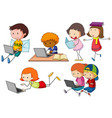 children working on computer laptop vector image