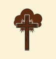 christian cross in the clouds vector image vector image