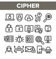 cipher data protection linear icons set vector image