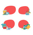 cleaning flat icons stickers set vector image