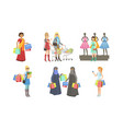 collection different people shopping bags and vector image vector image