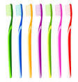 colorful cartoon toothbrush multicolor set vector image