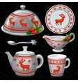 Cookware set for Christmas feast six items vector image vector image