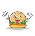 crazy burger character fast food vector image vector image