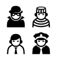 Criminal Police and Prison Userpic Icons Set vector image vector image