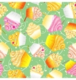 Cupcakes with cream Seamless background vector image vector image