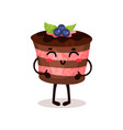 cute funny cake cartoon character vector image