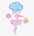cute stork with butterflies cartoons vector image vector image