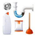 drain cleaner icon set vector image