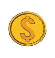 drawing gold coin money dollar vector image vector image