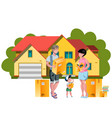 family moving to a new house vector image vector image