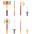 Fantasy medieval cold weapon set in flat-style vector image vector image