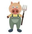 farmer pig vector image vector image