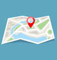 folded map paper with red pin icon flat color vector image