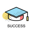 graduation cap icon for success on white vector image