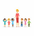 kindergarten teacher with children - cartoon vector image