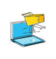 laptop computer with shopping cart vector image vector image